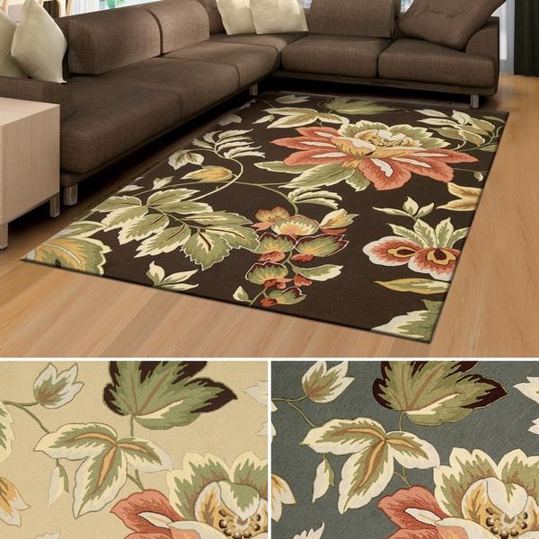 shop rug squared laurel floral print area rug 5 39 x 7 39 6 on sale free shipping today. Black Bedroom Furniture Sets. Home Design Ideas
