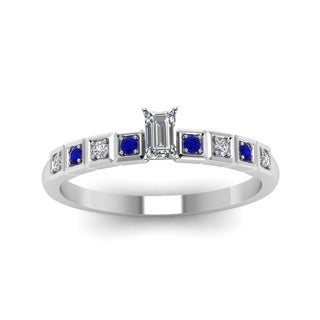 Fascinating Diamonds 14k White Gold 3/5ct TDW Certified Emerald Diamond Blue Sapphire Ring