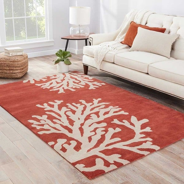 Shop Sullivan Handmade Abstract Coral/ Tan Area Rug (5' X