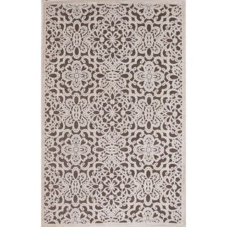 Machine Made Floral Pattern Brown\Ivory (5x7.6) Area Rug