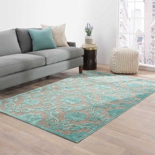 Machine Made Floral Pattern Brown\Blue (5x7.6) Area Rug