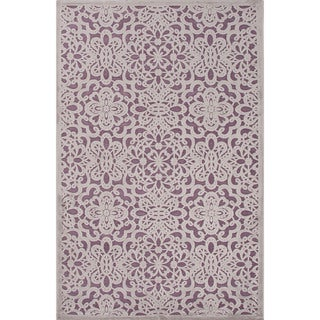 Machine Made Floral Pattern Grey\Gray (5x7.6) Area Rug