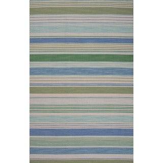 Handmade Stripes Blue Area Rug (5' X 8')
