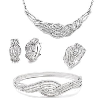 Divina Rhodium-plated 1ct TDW Diamond 4-piece Jewelry Set