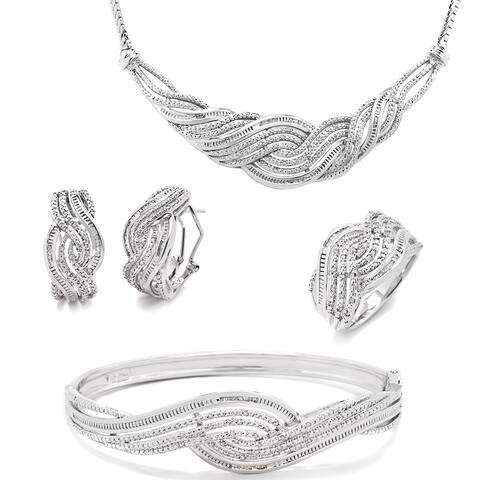 Divina Rhodium-plated 1ct TDW Diamond 4-piece Jewelry Set