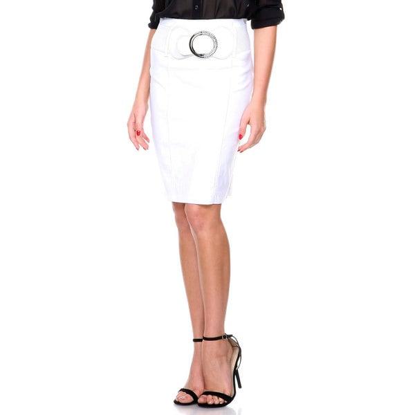 Women's High Waist Large Belt Pencil Skirt