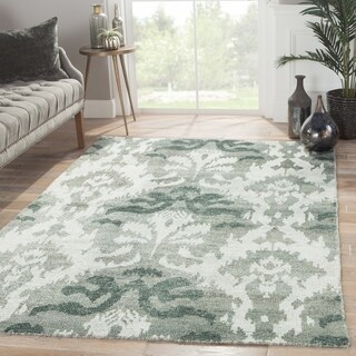 Hand-Knotted Damask Green Area Rug (2' X 3')