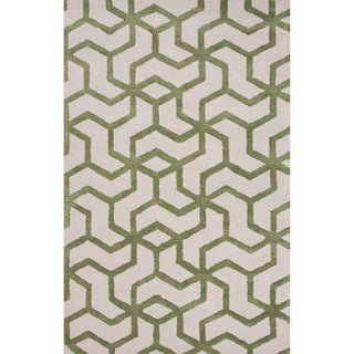 Hand-Tufted Geometric Pattern Ivory\Green (8x10) Area Rug