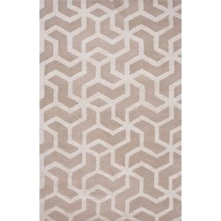 Hand-Tufted Geometric Pattern Ivory\Ivory (9x12) Area Rug