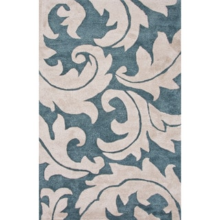 Hand-Tufted Floral Pattern Blue\Ivory (9x12) Area Rug