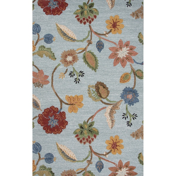 Hand Tufted Floral Pattern Blue Yellow 9x12 Area Rug