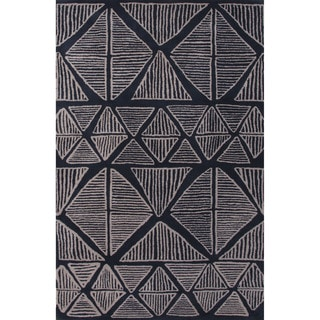 Hand-Tufted Tribal Pattern Blue\Gray (8x11) Area Rug