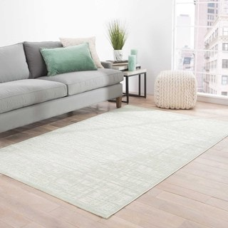 Machine Made Geometric Pattern Ivory\Green (9x12) Area Rug