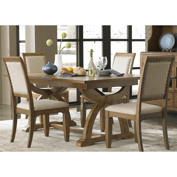 Town and country transitional trestle table brown free for Dining room tables home goods