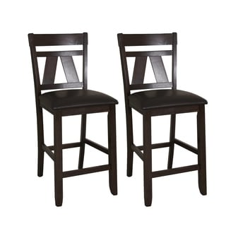 Espresso Two-tone Transitional Bonded Leather 24-inch Barstool