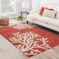 Sullivan Handmade Abstract Coral/ Tan Area Rug - 8' x 11'