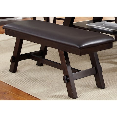 Lawson Espresso Two Tone Transitional Bonded Leather Bench