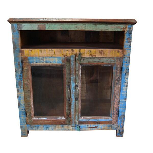 Handmade Rustic Reclaimed Mango Wood Cabinet With Glass