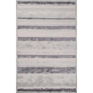Machine Made Stripe Pattern Ivory\Gray (9x12) Area Rug