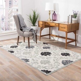 Machine Made Floral Pattern Ivory\Gray (9x12) Area Rug