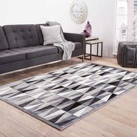 Trinati Geometric Gray/ White Area Rug (9' X 12') - 9 x 12