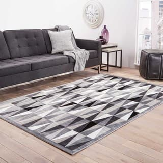Trinati Geometric Gray White Area Rug 9 X 12