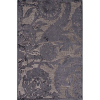 Machine Made Floral Pattern Grey\Gray (9x12) Area Rug