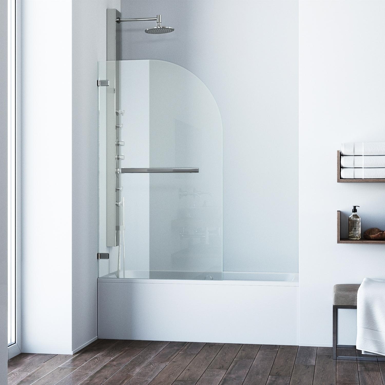 Vigo Orion Clear Curved Bathtub Door in Stainless Steel (...