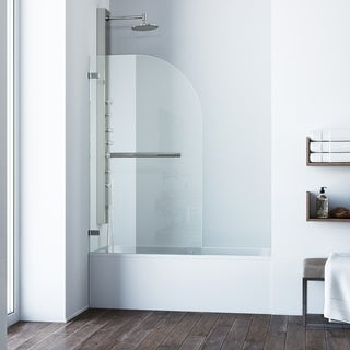 VIGO Orion Clear Curved Bathtub Door in Stainless Steel
