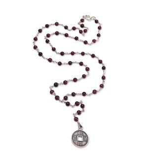 Handmade Sterling Silver 'Crimson Pis Bolong' Garnet Necklace (Indonesia)