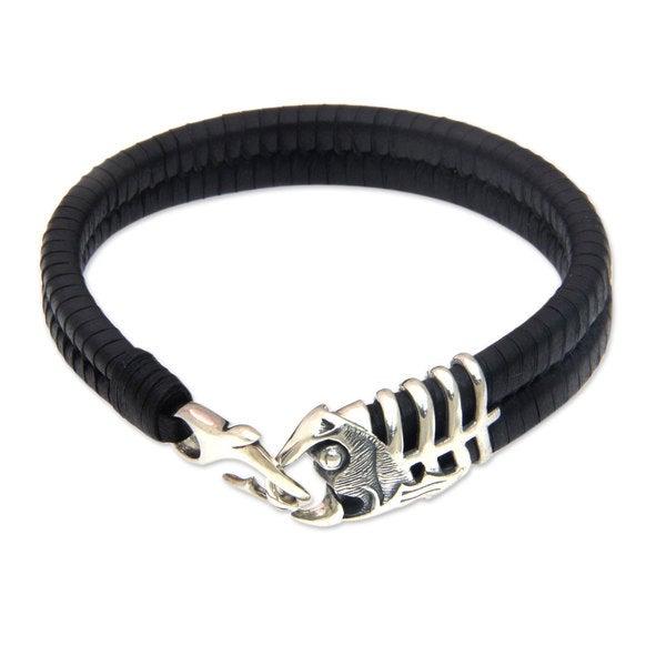Men 39 s leather sterling silver 39 gone fishing 39 bracelet for Mens fishing bracelet
