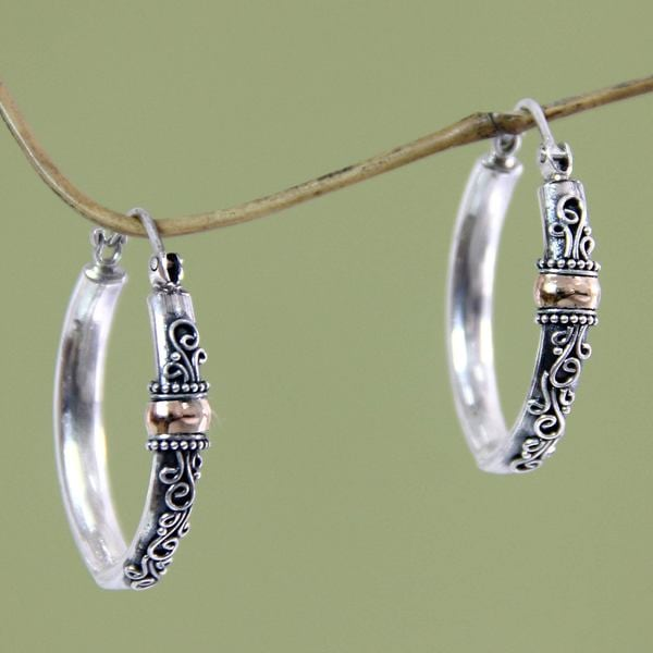 Handmade Gold Overlay 'Floral Tendrils' Earrings (Indonesia)