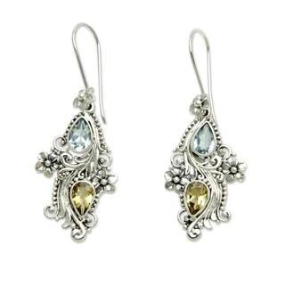 Plumeria Dew Handmade Fashion Vintage Flower Sterling Silver Blue Topaz Yellow Citrine Gemstone Jewelry Earrings (Indonesia)