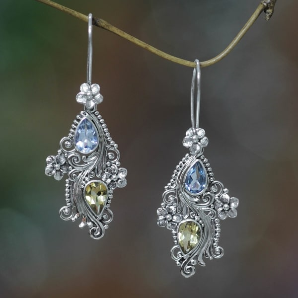 3e2be4b9e Plumeria Dew Handmade Fashion Vintage Flower Sterling Silver Blue Topaz  Yellow Citrine Gemstone Jewelry Earrings (
