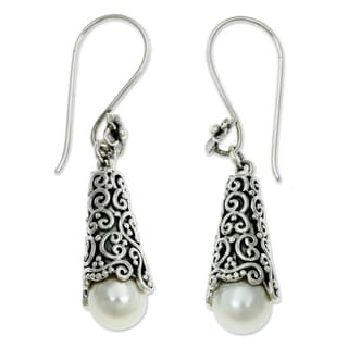 Silver 'White Arabesque Dewdrop' Pearl Earrings (8mm) (Indonesia)