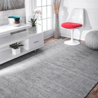 "nuLOOM Handmade Concentric Diamond Trellis Wool/ Cotton Rug (8'6 x 11'6"") (Option: Grey)"