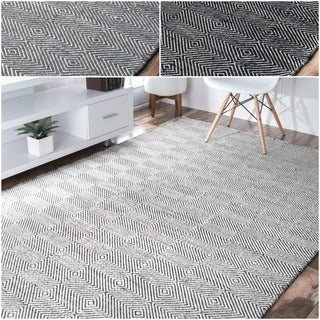 nuLOOM Handmade Concentric Diamond Trellis Wool/ Cotton Rug (4' x 6')