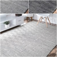nuLoom Concentric Diamond Trellis Wool/Cotton Handmade Area Rug (4' x 6')