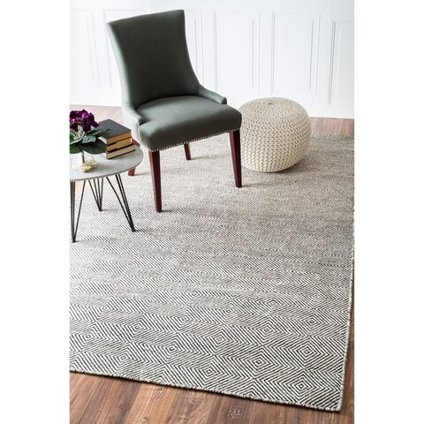nuLOOM Handmade Concentric Diamond Trellis Wool/Cotton Area Rug
