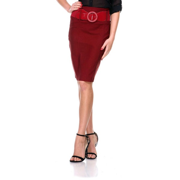 Stanzino Women's High-waist Belted Pencil Skirt