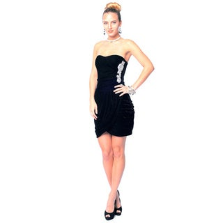 Sara Boo Women's Black Velvety Bandage Dress (Small)