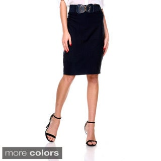 Stanzino Women's High Waist Belted Pencil Skirt