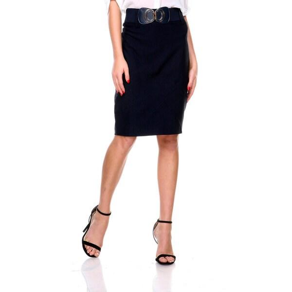 Stanzino Women's High Waist Belted Pencil Skirt
