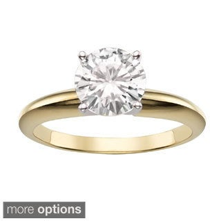 Charles & Colvard 14k Gold 1.90 TGW Round Classic Moissanite Solitaire Ring