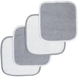 American Baby Company Organic Cotton White/Grey 4-pack Wash Cloth
