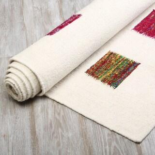 Aurora Home Multicolor Flatweave Wool Rug 5' x 8'