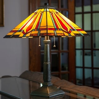 River of Goods 23.5-inch Mision Style Stained Glass Table Lamp
