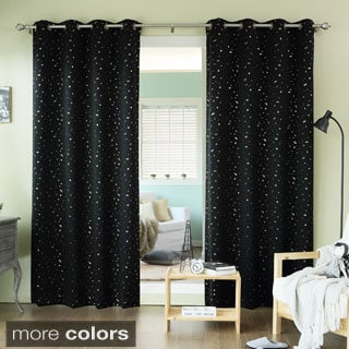 Aurora Home Twinkling Metallic Gold Star Printed Thermal Blackout Grommet Curtain Panel Pair