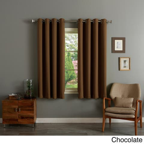 Aurora Home Silver Grommet Top 63-inch Blackout Curtain Pair - 52 x 63 - 52 x 63