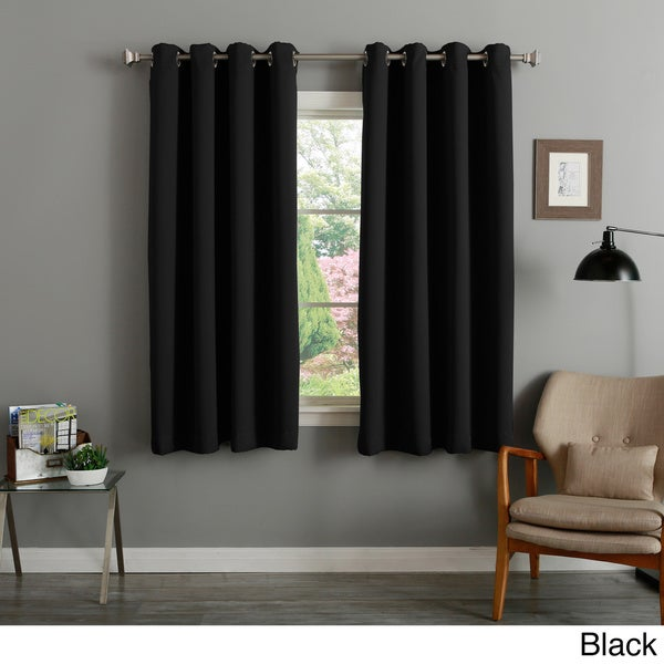 Aurora Home Silver Grommet Top Thermal Insulated 63 inch Blackout Curtain  Panel Pair   52 x 63   Free Shipping Today   Overstock com   17152486. Aurora Home Silver Grommet Top Thermal Insulated 63 inch Blackout